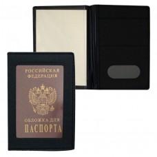 Обложка д/паспорта 1002 с окошком, ПУ, чёрная J.Otten /12 /0 /600 /0