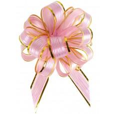 Бант оформительский - шар Красивый узор, 5 см, розовый с золотой окантовкой (полипропилен, органза) БЛ-6874 Миленд