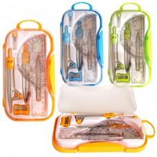 Готовальня 10 предметов, в пласт.футляре,европодвес, пласт.+металл,ассорти S55010