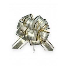 Бант оформительский - шар Красивый узор, 5 см, белый с золотой окантовкой (полипропилен, органза) БЛ-6873 Миленд