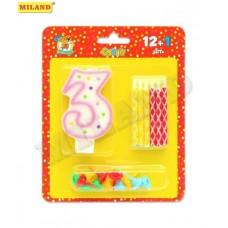 Набор Свечи с цветным узором с подставками. 12 шт. + свеча-цифра