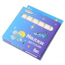 Мел белый 6шт школьный карт. кор. Алгем  НМБ-6
