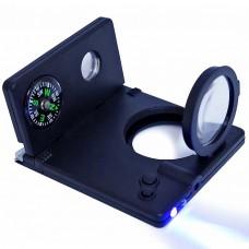Лупа 1800 8 в 1:компас,телескоп,2 ручки,лупа 3х,лазер,led фонарь,ультрафиолет /24 /0 /288 /0