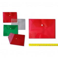 Папка-конверт с кнопкой 24х17.5см, прозрачный пластик 160 мкм, ассорти 2842 J.O.