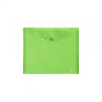 Папка-конверт с кнопкой 243х210мм, 18мкр, А5, зеленая AKк_15104 Hatber