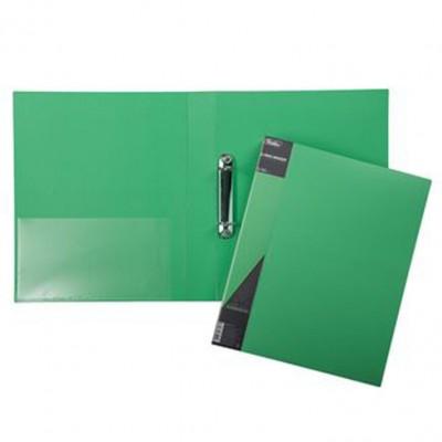 Папка на 2-х кольцах 40мм А4  STANDARD зелен+карман 24АВ4_00107 Hatber